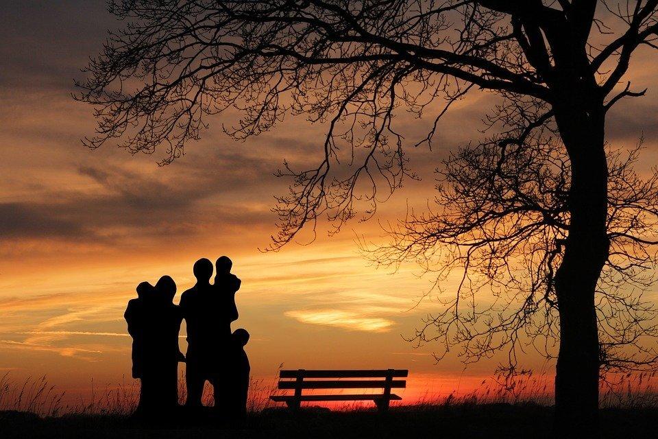 Família, Pôr Do Sol, Mulher, Crianças, Pai, Mãe